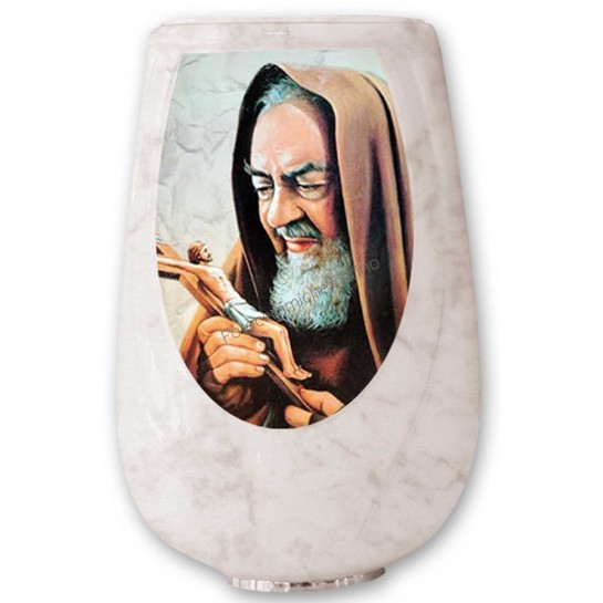 Vaso Serie Iris Marmorizzato con Decoro Religioso