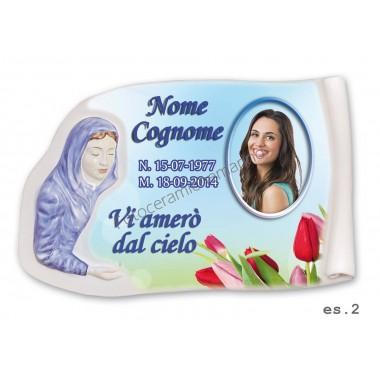 Targa a Rilievo Madonna Decorata a Mano